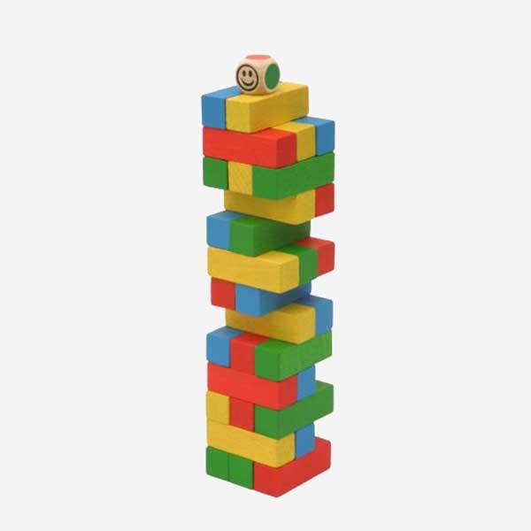 Dřevěná společenská hra Věž Jenga MINI - MIKToys barevná