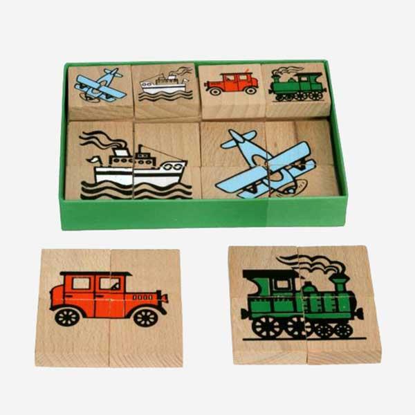 Dřevěné puzzle - dopravní prostředky - MIKToys