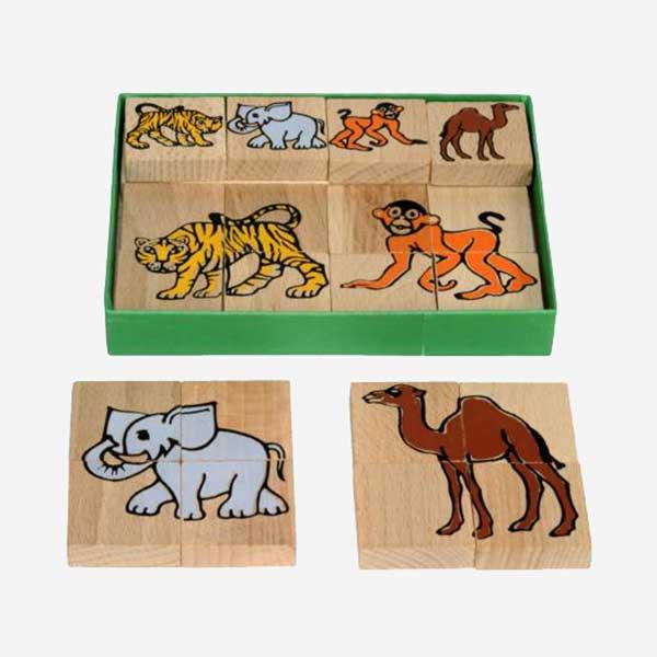 Dřevěné puzzle - zvířátka ze ZOO - MIKToys