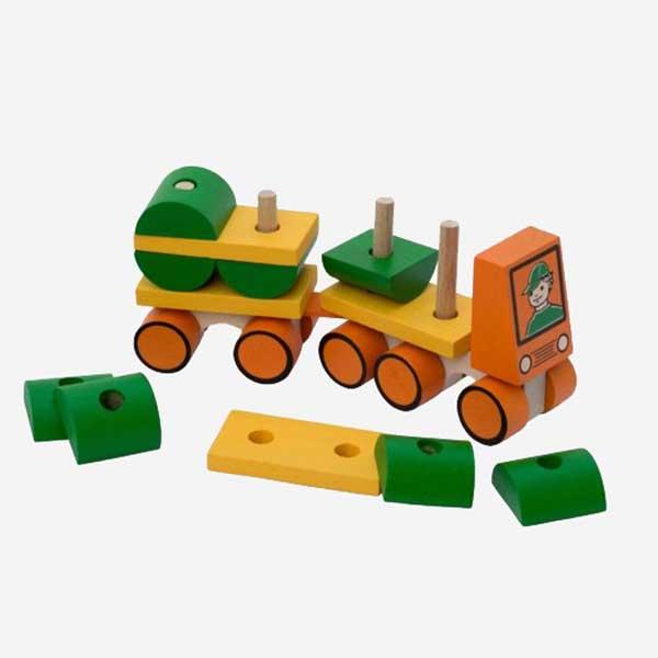 Dřevěná hračka Nákladní auto s cisternou - zelená barva - MIKToys