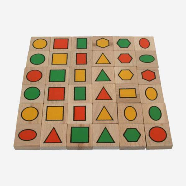 Dřevěná hračka Pexeso - MIKToys - geometrické tvary