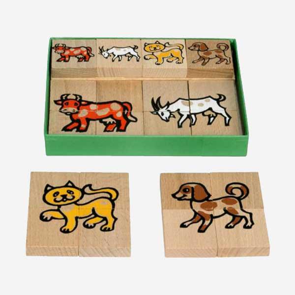 Dřevěné puzzle - domácí zvířátka - MIKToys