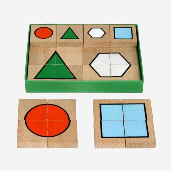 Dřevěné puzzle - geometrické tvary - MIKToys