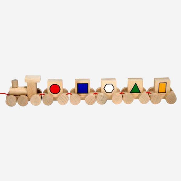Dřevěný Vláček s obrázky - geometrie - MIKToys
