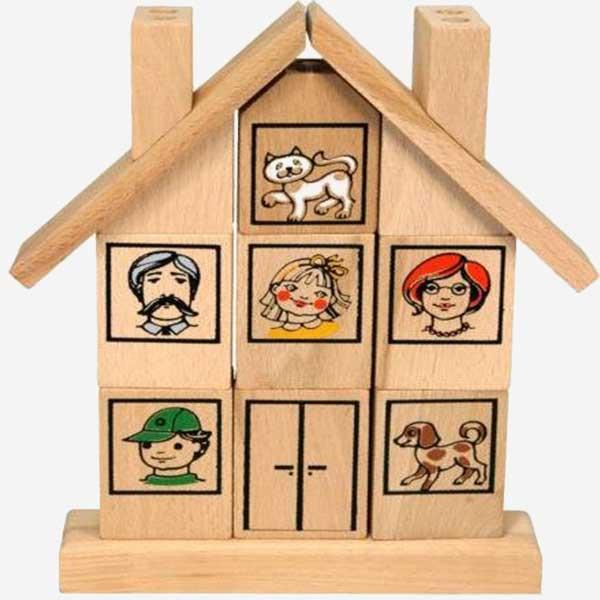 Dřevěná skládačka - Domeček - MIKToys