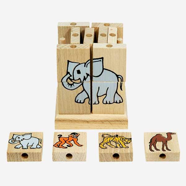 Dřevěná hračka Skládací kostka s obrázky – exotická zvířátka - MIKToys