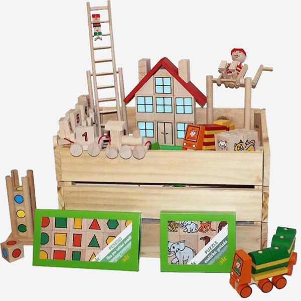 Bedýnka s dřevěnými hračkami - VÁNOČNÍ TIP