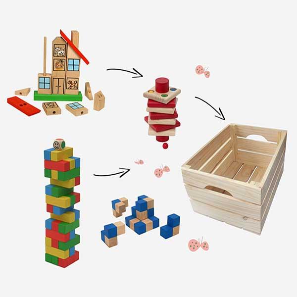Vlastní dárkový set dřevěných hraček a bedýnky